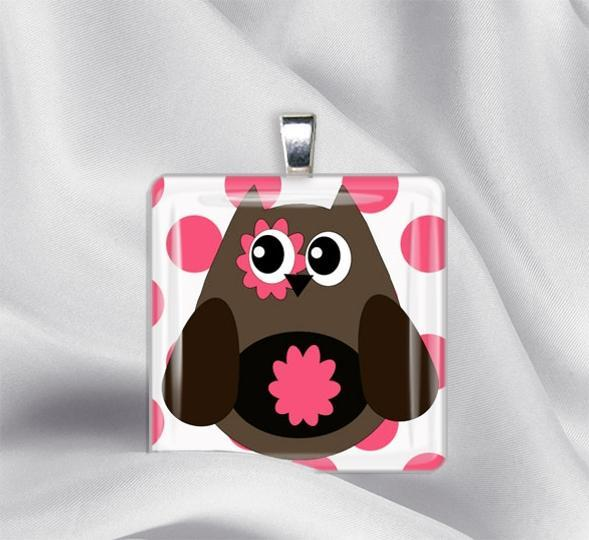 Miss Cutie Owl IzzysPlace Glass Tile Pendant