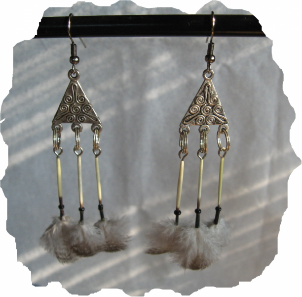 New Black, White Porcupine Quill And Feather Earrings