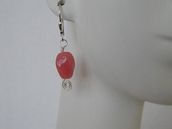 Handmade Pink Quartz/silver Earrings