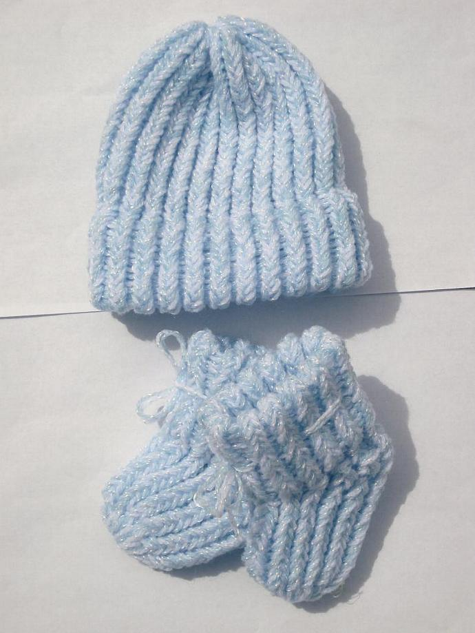 Pale Blue Baby Booties & Hat Set