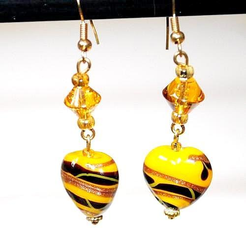 Lampwork Yellow Hearts Earrings with Black/Brown Swirls and Crystals FREE