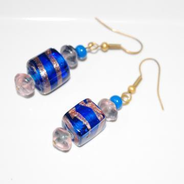 Navy Blue Handblown Glass Earrings