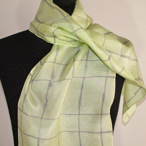 Hand-Dyed Silk Scarf - Glacial Series - Lavender / Ice Fern