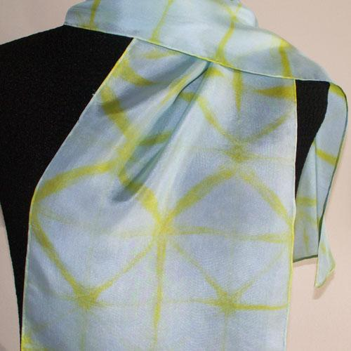 Hand-Dyed Silk Scarf - Glacial Series - Ice Fern