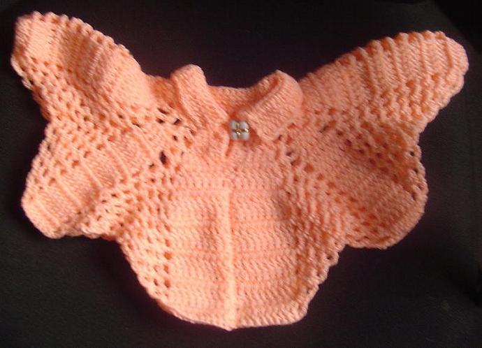 Crocheted Peach Collared Poncho for Toddler