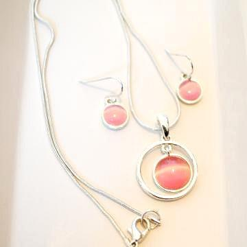 Beautiful Pink and Silver Shell Necklace with Earrings WITH FREE SHIPPING