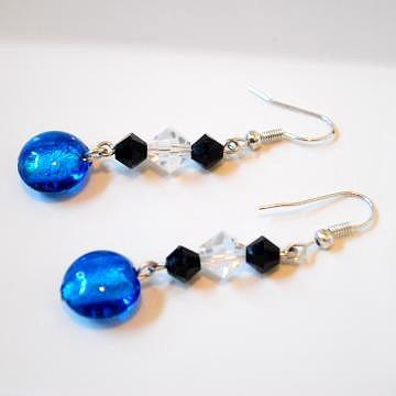 Lampwork Glass with Crystazzi Crystal Earrings
