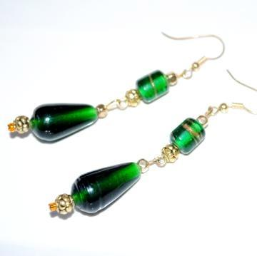 Forest Green Lampwork Earrings with Gold Spacers
