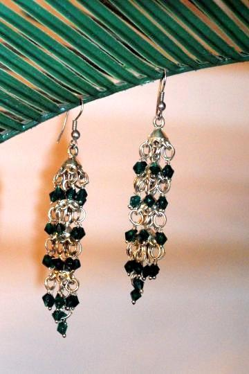Silver Chandelier Earrings with miniature forest Green Beads