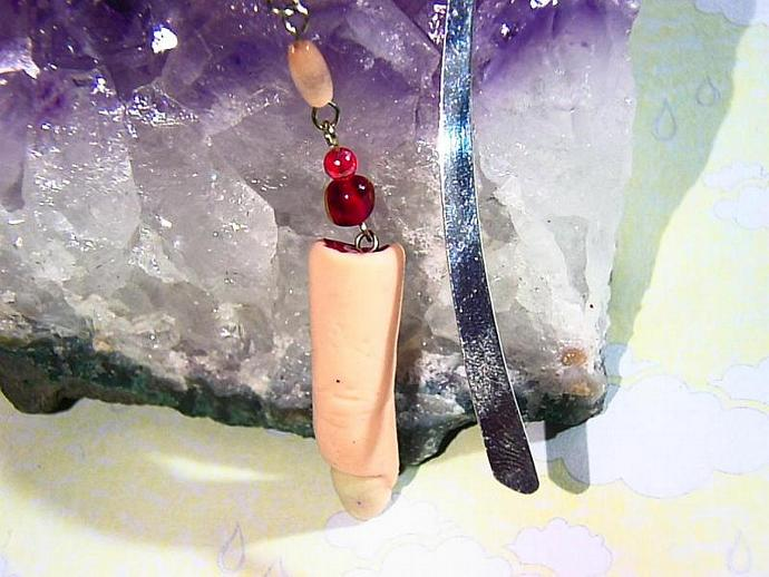 OOAK Sculpted severed finger bookmark with hanging tag reading- human the other