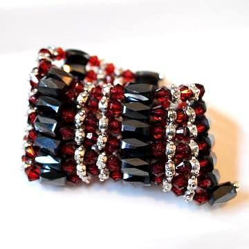 All in 1 – Magnetic Hematite Jewelry wrap with burgundy crystals