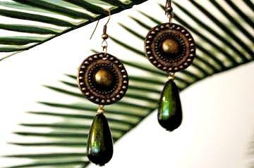Green Antique Tear drop Earrings with Brass Metal Coin
