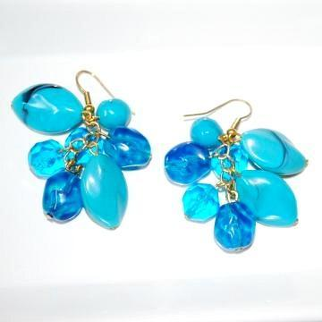 Handmade Cluster Turquoise Bead Aqua Drop Earrings