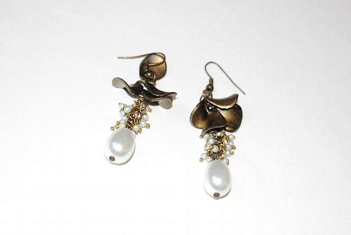 Earrings: Brass Toned Chandelier Drop Earrings with Glass Pearls