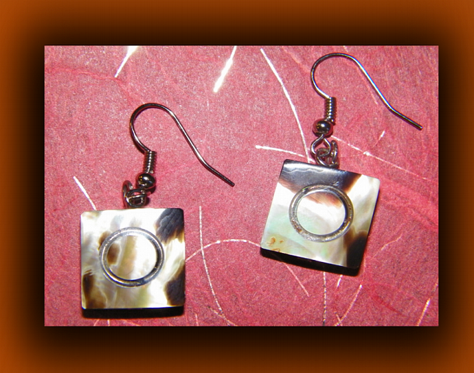 Antique Inspired Brown Square Cut Shell Earrings