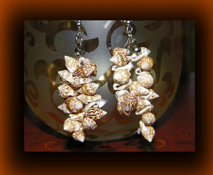 Leopard Print Dangling Shell Earrings