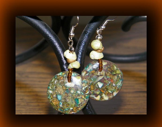 Round Limestone Mosaic Dangling Earrings