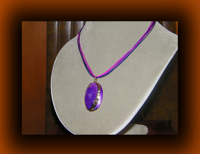 Oval Purple Shell Necklace w/ Gold Metal Accent
