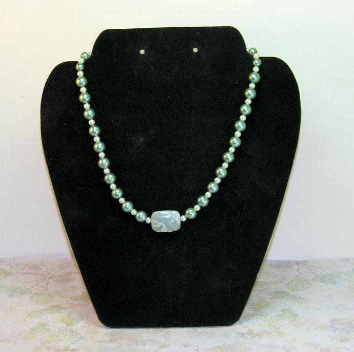 Handmade Sage and White Pearl Necklace with Peace Jade Focal Bead