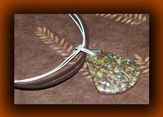 Teardrop Shaped Mosaic Limestone Pendant Necklace