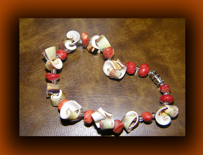Luhuanus Snail Shell and Red Coral Bracelet
