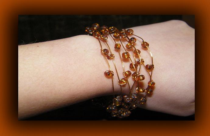 Golden Brown Glass Beads Copper Wire Cuff Bracelet