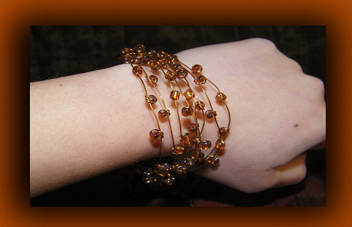Golden Brown Glass Beads Copper Wire Cuff Bracelet
