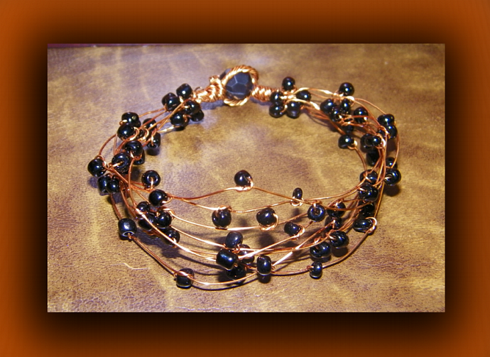 Bluish-Black Hematite Beads Copper Wire Bracelet
