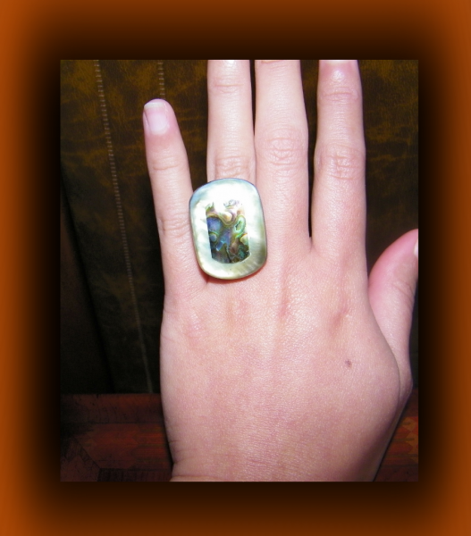 Peacock Inspired Adjustable Shell Ring w/ Paua