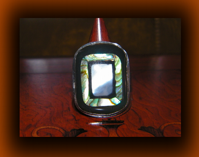 Rectangular Adjustable Shell Ring w/ MOP and Paua