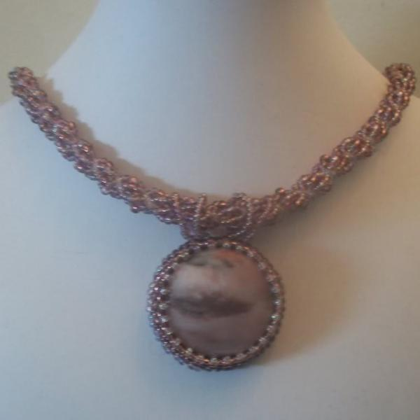Purple Necklace w Jasper Pendant