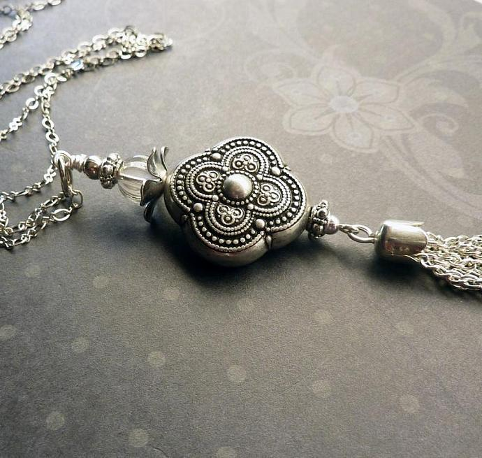 Antique Silver Tassel Necklace