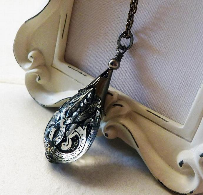 Black Lace Teardrop Pendant Necklace