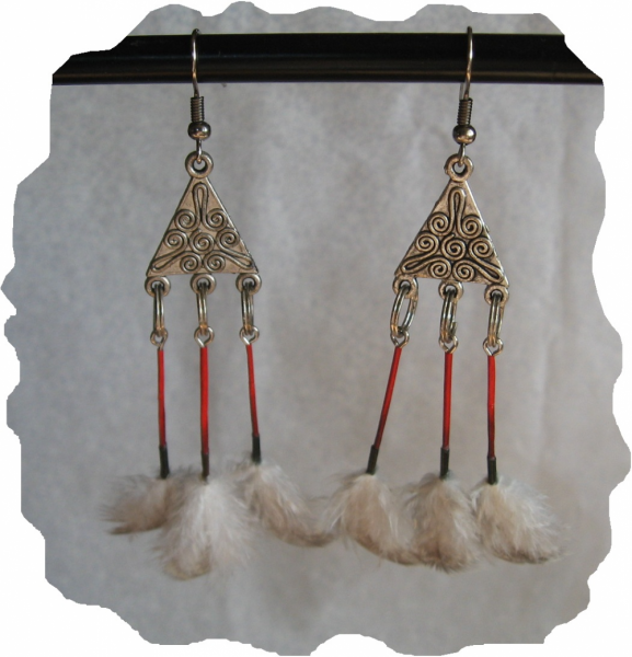 New Black, Red, Porcupine Quill & Feather Earrings