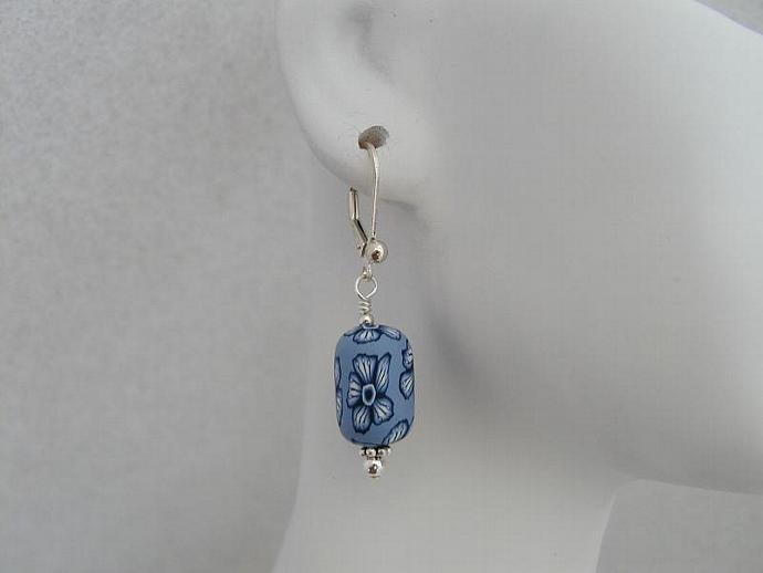Handmade Summer Blue on Blue Polymer Earrings
