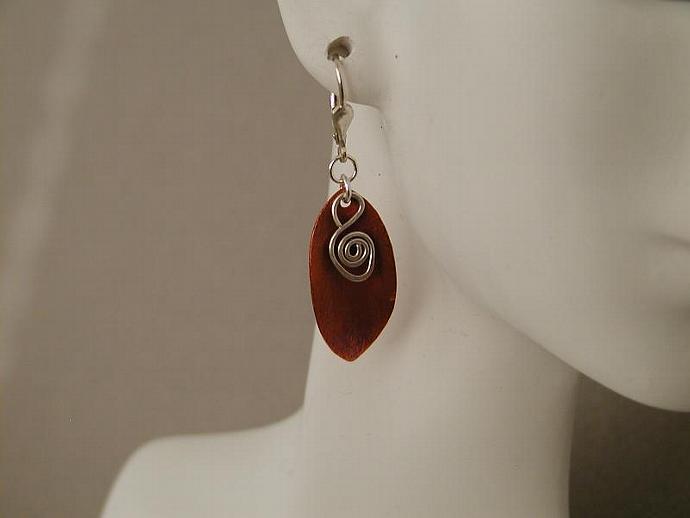 Copper Leaf/Silver Earrings