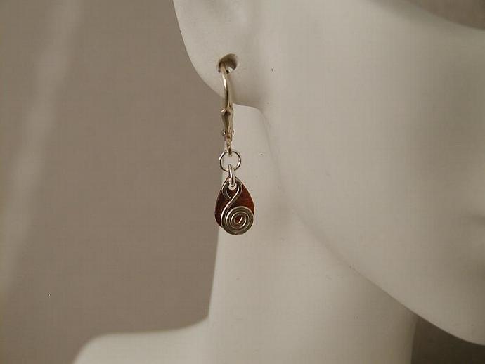 Copper Teardrop/Silver Earrings