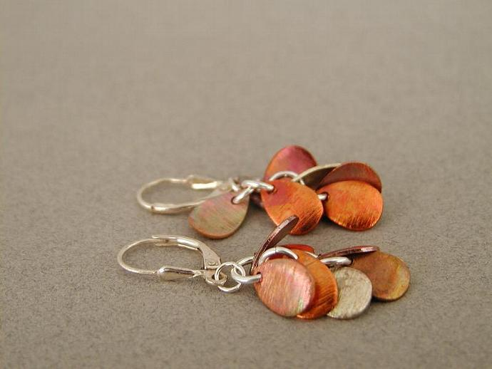 Handcrafted Cascading Copper  Earrings
