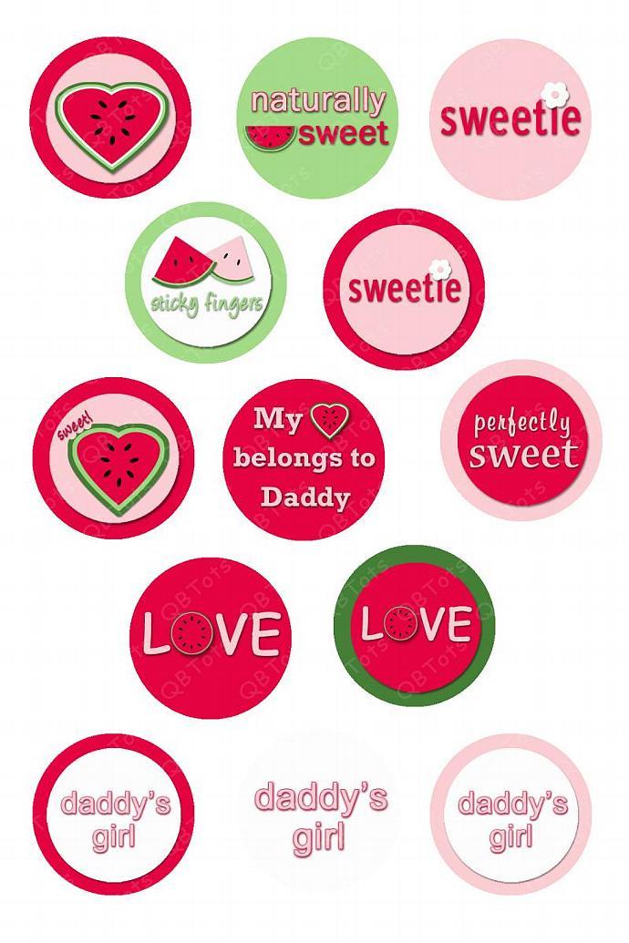 M2MG Watermelon Picnic Digital Image Collage 1 inch Circles
