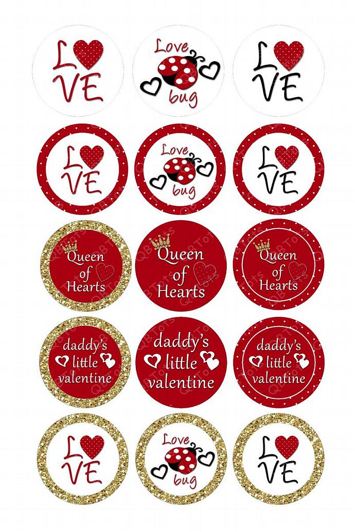 M2MG Valentines 2011 Digital Image Collage 1 inch Circles