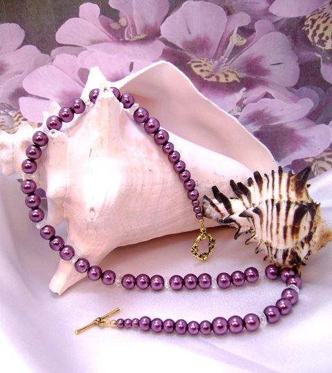 Burgundy Merlot & Crystal Single-Strand Necklace