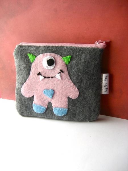 Little Pink Monster Felt Zippered Handmade Pouch
