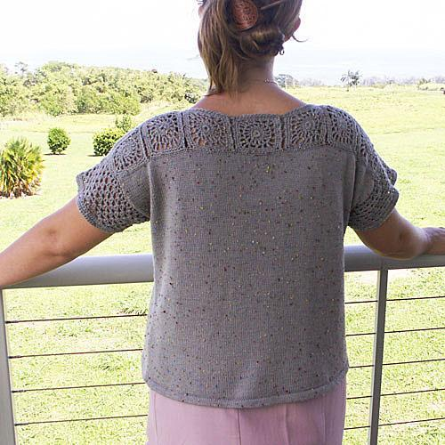 Box Sweater with Crocheted Neckline and Sleeves - Size Medium