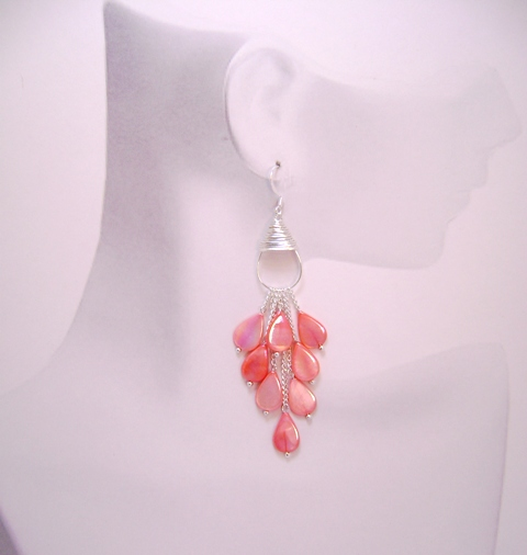 Captivating Salmon Mother of Pearl Teardrop Waterf