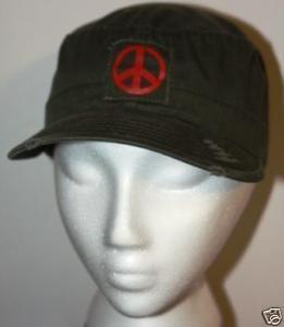 Vintage Olive Drab Peace Sign Military Cap Hat