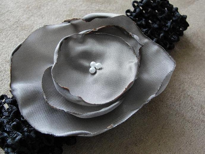 Taupe and Black Floral Headband