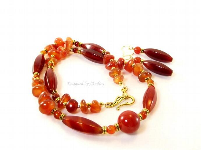 Red Hot Carnelian Necklace and Earring Set