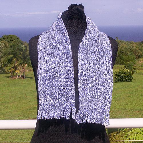 Blue Cotton Chenille Scarf