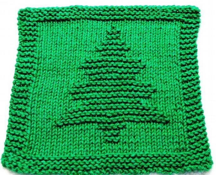 Knitting Cloth Pattern - CHRISTMAS TREE - PDF