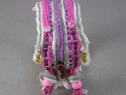 big pink beaded double toggle ragged rope cuff bracelet 908